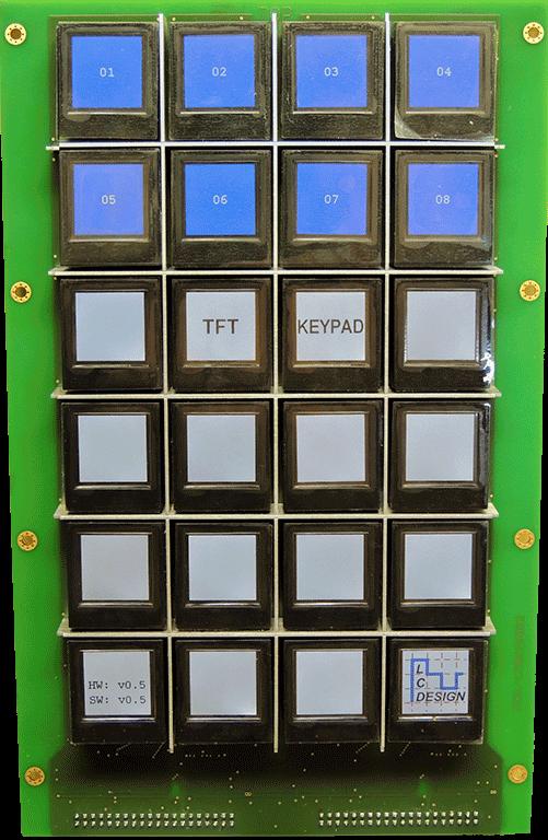 Displaytasten über Ethernet, 8 Tasten blau, 16 Tasten grau unten rechts LC DEsign Logo